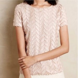 Anthropologie Weston Feather Plume Point Top